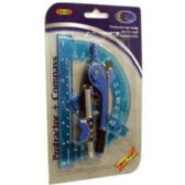 48 Units of Protractor + Compass - 2 pack - assorted colors - Rulers