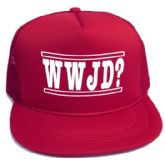"""48 Units of Youth mesh back printed hat, """"WWJD?"""", assorted colors - Kids Baseball Caps"""