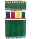 48 Units of 3-Pack Memo Pad - Assorted Primary Colors - Notebooks