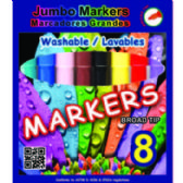 48 Units of Broad Tip Washable Jumbo Markers- 8 count - MARKERS/HIGHLIGHTERS