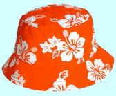 36 Units of Red hibiscus print bucket hats - Bucket Hats