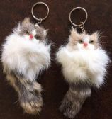 144 Units of Furry kitten keychain - Key Chains