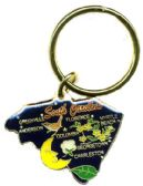 """36 Units of Heavy brass keychain, SOUTH CAROLINA, state is approx. 1.75"""" in size - Key Chains"""