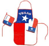 6 Units of Texas kitchen set consists of apron, oven mitt, hot pad - Oven Mits & Pot Holders