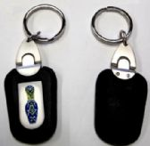 """24 Units of 3"""" Metal / leather keychain with brass Masonic insignia - Key Chains"""