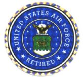 "96 Units of 3"" Round decal, ""United States Air Force Retired - Stickers"