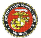 "96 Units of 3"" Round decal, ""United States Marine Corps Retired"" - Stickers"