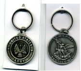 """48 Units of Metal keychain, 1 5/8"""" diameter medallion, """"United States Army"""" on one side and """"St. Michael Protect Me"""" on the other - Key Chains"""