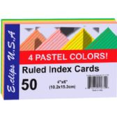 60 Units of Index Cards - Pastel Asst. Colors - 4x6- 50 ct - Office Supplies