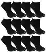 12 Units of Yacht & Smith Women's Premium Cotton Ankle Socks Black Size 9-11 - Girls Ankle Sock