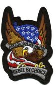 "48 Units of Embroidered iron-on patch, approximately. 3"" in size, ""AMERICAN BY BIRTH, REBEL BY CHOICE - Novelties"