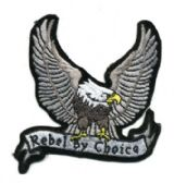 "48 Units of Embroidered iron on patch, approx. 3"" in size, ""REBEL BY CHOICE - Novelties"
