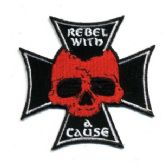 "48 Units of Embroidered iron on patch, approx. 3"" in size, ""REBEL WITH A CAUSE"" - Novelties"