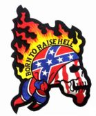 "12 Units of Embroidered iron on patch, approx. 8.5"" in size, ""BORN TO RAISE HELL"" - Novelties"