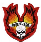 "48 Units of Embroidered iron-on patch,""REBEL 'TIL I DIE"", approximately 3"" in size - Novelties"