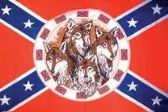 12 Units of 3' x 5' polyester Rebel flag with Four Wolves with grommets - Flags
