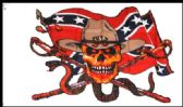 12 Units of 3' x 5' Rebel Flag with Skull, Snake and 2 Swords with grommets - Flags