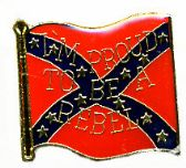 """96 Units of Brass Hat Pin, Rebel flag, """"I'm Proud to be A Rebel"""" - Hat Pins / Jacket Pins"""