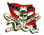 96 Units of Brass Hat Pin, Rebel flag w/skull and snake - Hat Pins / Jacket Pins