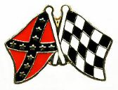 96 Units of Brass Hat Pin; Rebel, Checkered flags - Hat Pins / Jacket Pins