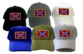 24 Units of Cap with embroidered patch, Rebel flag, assorted colors (hat colors may vary from picture - Baseball Caps/Snap Backs