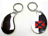 """36 Units of 2.5"""" Metal keychain with brass Rebel Flag - 'The South Will Rise Again' insignia, individually gift boxed - Key Chains"""