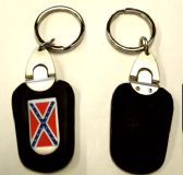 """36 Units of 3"""" Metal/leather keychain with brass Rebel Flag insignia - Key Chains"""