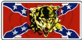 "24 Units of 6"" x 12"" Metal license plate, Rebel Flag with/Wolf - Auto Accessories"