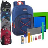 12 Units of Preassembled 17 Inch Bungee Backpack & 12 Piece School Supply Kit - 5 Colors - School Supply Kits