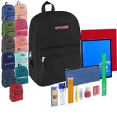 12 Units of Preassembled 17 Inch Backpack & 12 Piece School Supply Kit - 12 Colors - Backpacks 17""