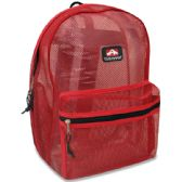 """24 Units of Trailmaker 17 Inch Mesh Backpack - Red Only - Backpacks 17"""""""
