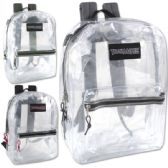 24 Units of Trailmaker Classic 17 Inch Clear Backpack - 3 Assorted Colors - Backpacks 17""
