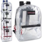 24 Units of Trailmaker Classic 17 Inch Clear Backpack - 5 Assorted Colors - Backpacks 17""