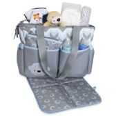 24 Units of 3 in 1 Blue Monkey Diaper Tote - Baby Diaper Bag