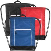 48 Units of High Trails 18 Inch Drawstring Bag - 3 Colors - Draw String & Sling Packs