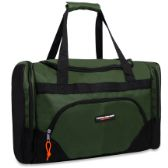 24 Units of Trailmaker Deluxe 20 Inch Duffel Bag With Large Side Pockets- Green Color Only - Duffle Bags
