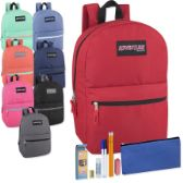 """12 Units of Preassembled 17 Inch Backpack & 7 Piece School Supply Kit - 8 Colors - Backpacks 17"""""""