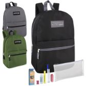 """12 Units of Preassembled 17 Inch Backpack & Clear 7 Piece School Supply Kit - 3 Colors - Backpacks 17"""""""