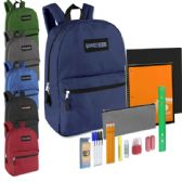 24 Units of Preassembled 17 Inch Backpack & 12 Piece School Supply Kit - 6 Colors - School Supply Kits