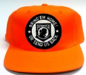 """24 Units of Blaze orange polyester cap with embroidered patch, POW-MIA """"Bring 'Em Home! Or Send Us Back"""" - Baseball Caps/Snap Backs"""