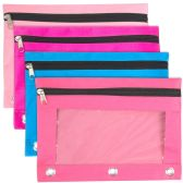 96 Units of 3 Ring Binder Pencil Case with Window - Girl Color Assortment - Pencil Boxes & Pouches