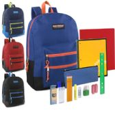 12 Units of Preassembled 18 Inch Double Zip Backpack & 12 Piece School Supply Kit - Boys Colors - School Supply Kits