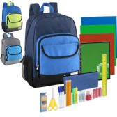 12 Units of Preassembled 19 Inch Backpack & 18 Piece School Supply Kit - Boys - School Supply Kits