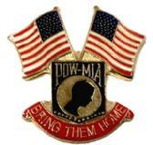"96 Units of Metal Hat Pin, POW-MIA shield, ""Bring Them Home""; US flags - Hat Pins / Jacket Pins"