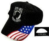 12 Units of Embroidered acrylic textured cap, POW-MIA with US flag, black caps - Baseball Caps/Snap Backs