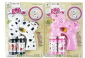 48 Units of SOLID DOG BUBBLE GUN W/ LIGHT AND MUSIC PINK & WHITE - Bubbles