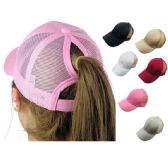 36 Units of Mesh Ponytail Baseball Cap - Baseball Caps/Snap Backs