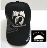 """12 Units of Embroidered cap - 100% cotton, """"POW-MIA In Memory 1959-1975 You Are Not Forgotten"""" design, black caps - Baseball Caps/Snap Backs"""