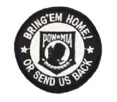 "48 Units of Embroidered iron-on patch, approx. 3"" in size, ""POW-MIA BRING 'EM HOME! OR SEND US BACK - Sewing Supplies"