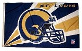 4 Units of 3' x 5' St. Louis Rams NFL licensed flag, Helmet design, AMERICAN MADE FLAG with grommets. - Flags